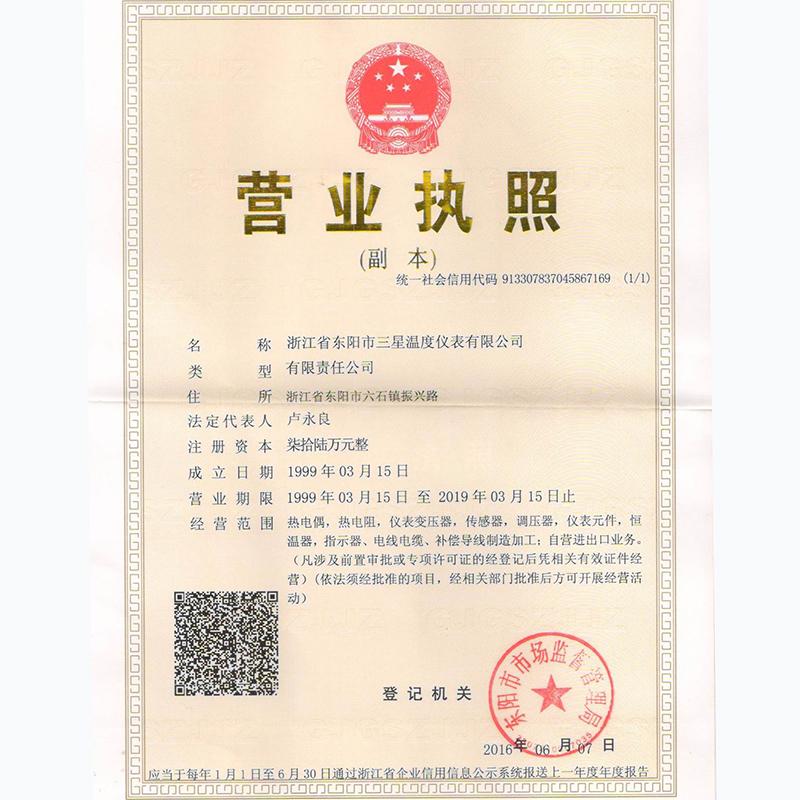 浙江省东阳市三星温度仪表有限公司营业执照扫描档